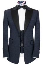 William Hunt Savile Row Cobalt over midnight blue jacquard three piece peak lapel dinner suit