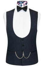 William Hunt Savile Row Cobalt over midnight blue jacquard waistcoat with classic black back lining