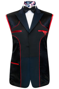 William Hunt Savile Row Cobalt blue shot three piece dinner suit with classic black lining with red piping highlights