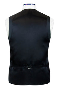 William Hunt Savile Row Cobalt blue shot waistcoat with classic black back lining