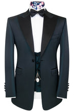 William Hunt Savile Row Petrol blue three piece peak lapel dinner suit