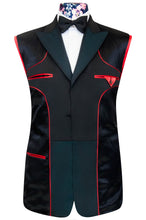 William Hunt Savile Row Petrol blue three piece dinner suit with classic black lining with red piping highlights