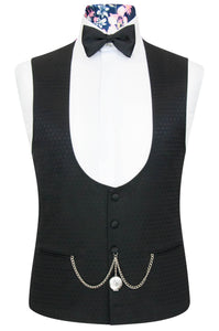 William Hunt Savile Row Black over black jacquard waistcoat with classic black back lining