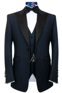The Baker Navy Geometric Weave Dinner Suit