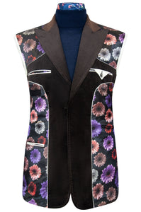 William Hunt Savile Row Mocha chocolate prince of wales check velvet jacket featuring a black base lining with multi-coloured floral pattern
