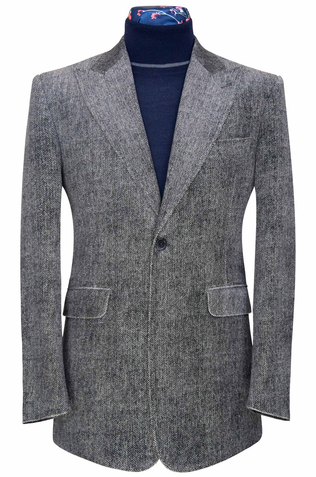 William Hunt Savile Row Grey melange herringbone peak lapel velvet jacket
