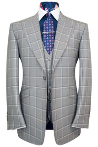 Dove Grey three piece peak lapel suit with charcoal and white windowpane check