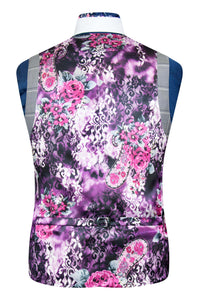 Dove Grey check waistcoat with purple multi-coloured floral back lining