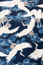 The Natsu Navy Blue with Oriental Crane Print