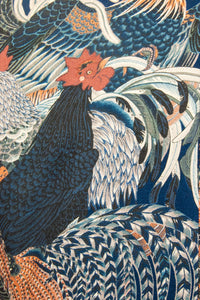 The Natsu Navy Blue with Oriental Rooster Print