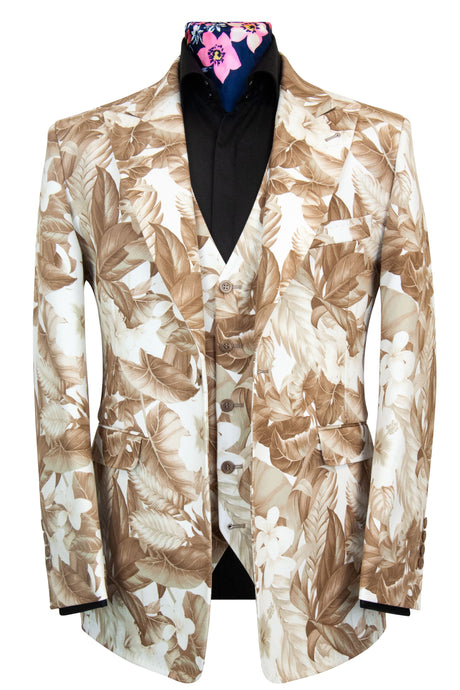 The Natsu Bronze and White Floral Print Suit