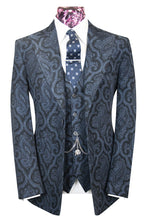 The Langford Prussian Blue With Black Paisley Pattern Suit