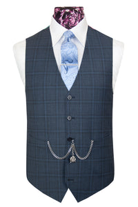 The Shelby Slate Grey Suit with Sky Blue and Grey Overcheck  Waistcoat