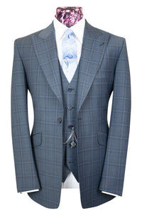The Shelby Slate Grey Suit with Sky Blue and Grey Overcheck