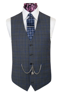 The Oseman Pewter Grey Suit with Blue and Black Over Check Waistcoat