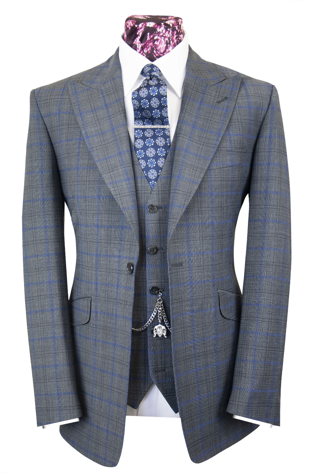 The Oseman Pewter Grey Suit with Blue and Black Over Check