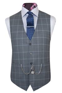 The Ark Smoke Grey Suit with Sky Blue Windowpane Check Waistcoat