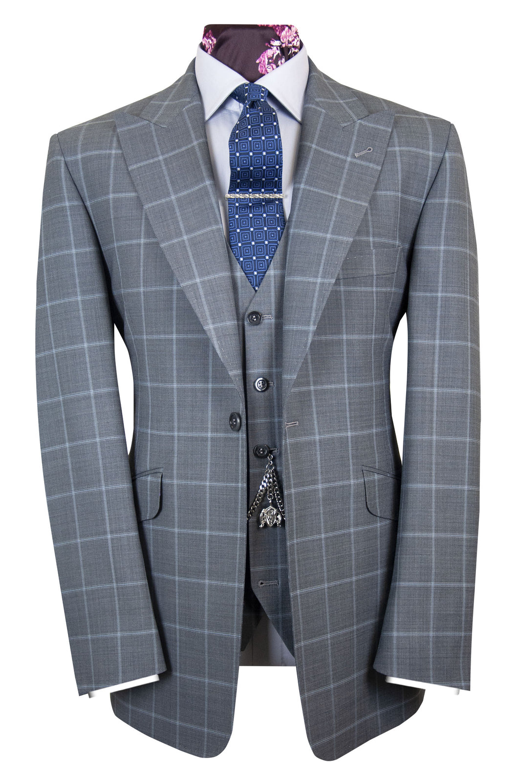 The Ark Smoke Grey Suit with Sky Blue Windowpane Check
