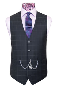 The Sneddon Faded Black Suit with Chalk Grey Windowpane Check Waistcoat