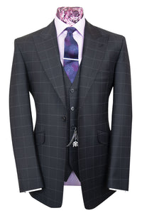 The Sneddon Faded Black Suit with Chalk Grey Windowpane Check