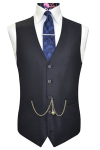 The Branston Classic Navy Waistcoat Front