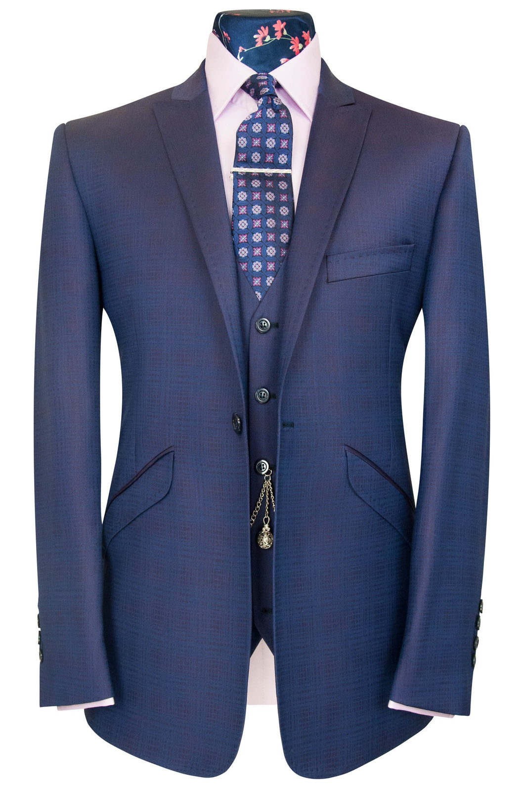 William Hunt Savile Row Purple shadow check three piece peak lapel suit