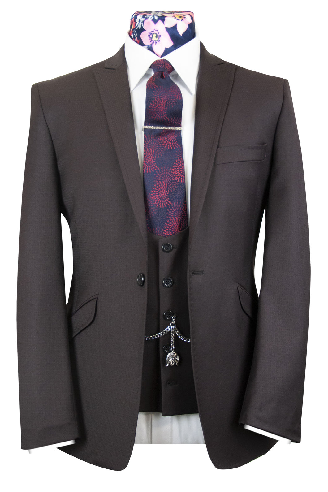 The Chamberlain Dark Mahogany Check Suit