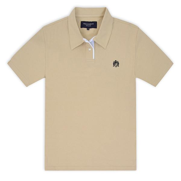 Beige Piqué Polo Top With White Contrasting Insert 2017 Polos