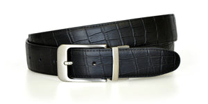 Black Reversible WH Belt Croc side