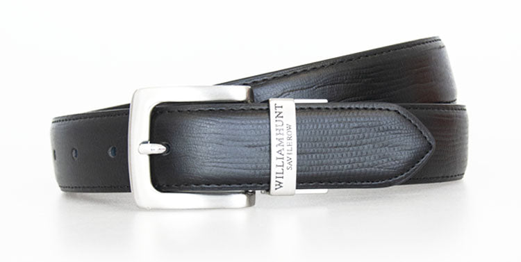 Black Classic WH Belt with Snake Skin Effect