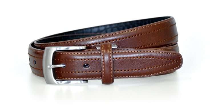 Brown Croc Back Classic WH Belt Front