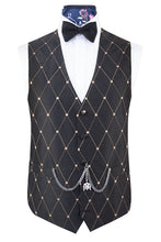Dark Brown with Diamond Pattern Silk Waistcoat