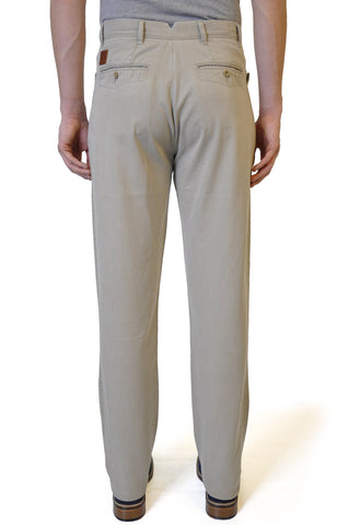 Cream Straight Cotton Chino - William Hunt Savile Row  - 1