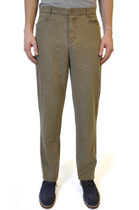 Khaki Brown Straight Cotton Chino - William Hunt Savile Row  - 1