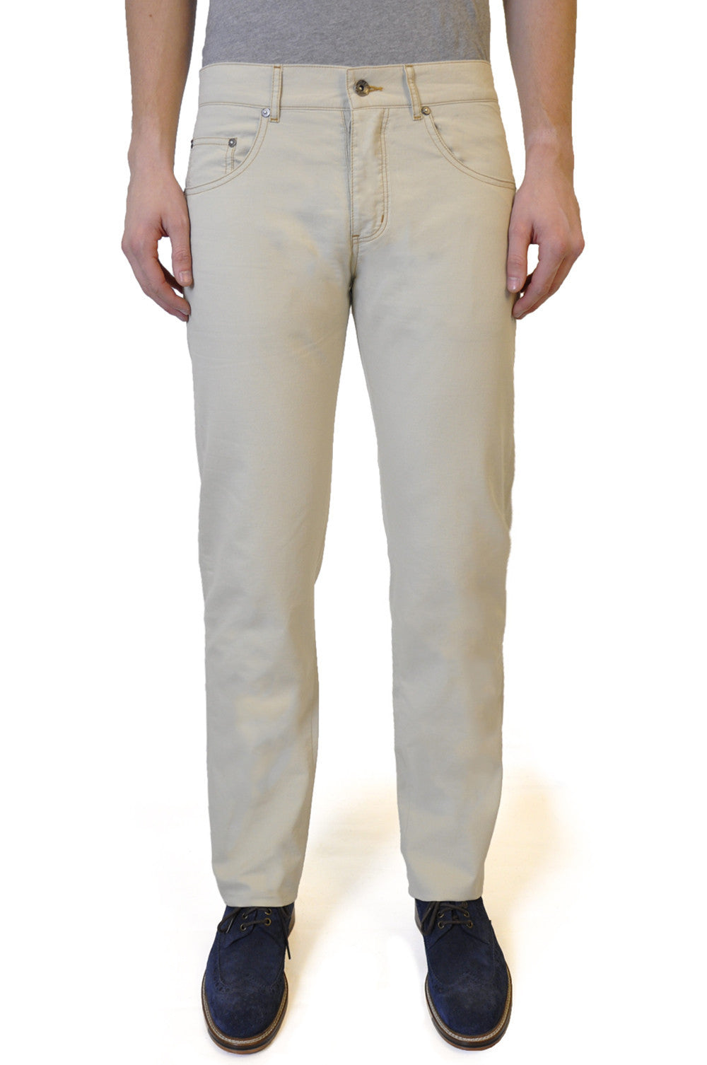 Pale Cream Cotton Chino - William Hunt Savile Row  - 1