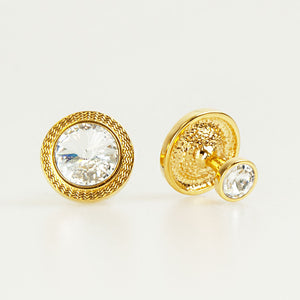 Double Round Gold Crystal Cufflinks Back