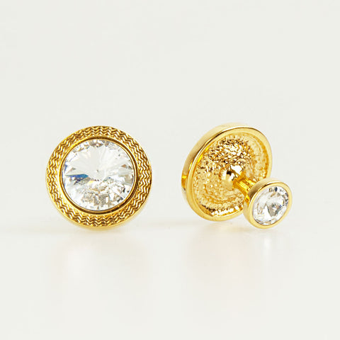 Double Round Gold Crystal Cufflinks Front