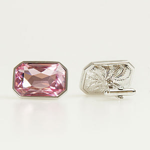 Pink Crystal Rectangle Cufflinks Back