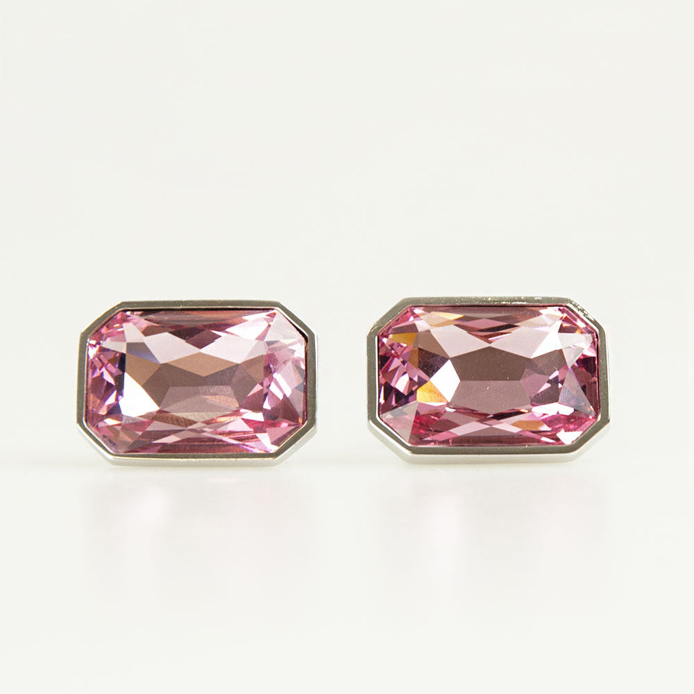 Pink Crystal Rectangle Cufflinks Front
