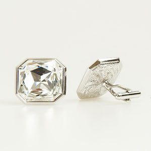 Clear Crystal Square Cufflinks Back