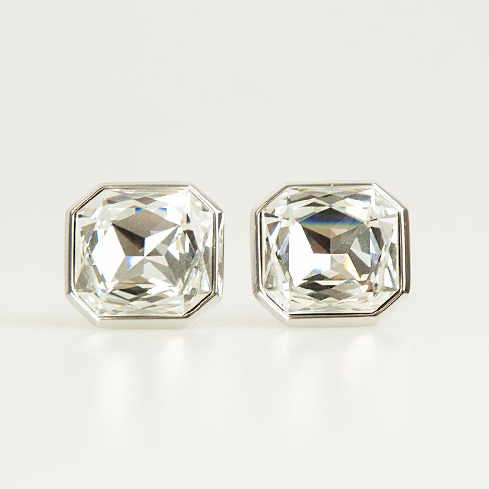 Clear Crystal Square Cufflinks Front