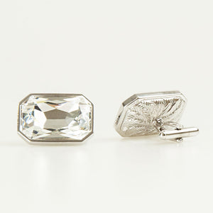 Clear Crystal Rectangle Cufflinks Back