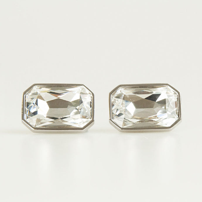 Clear Crystal Rectangle Cufflinks Front