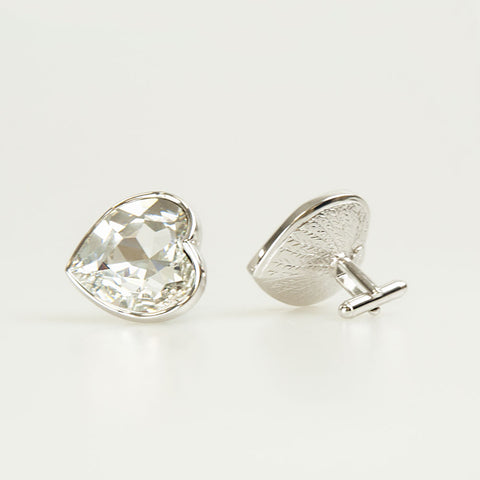 Clear Heart Crystal Cufflinks