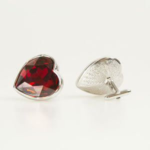 Red Heart Crystal Cufflinks Back