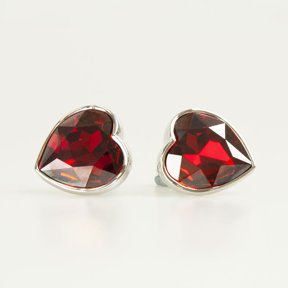 Red Heart Crystal Cufflinks Front