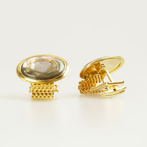 Oval Multi Pearl Vintage Cufflinks Back