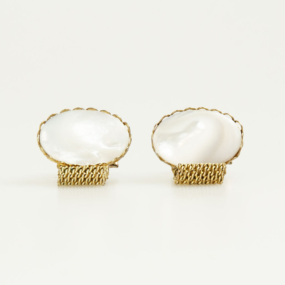 Oval White Pearl Bronze Vintage Cufflinks Front