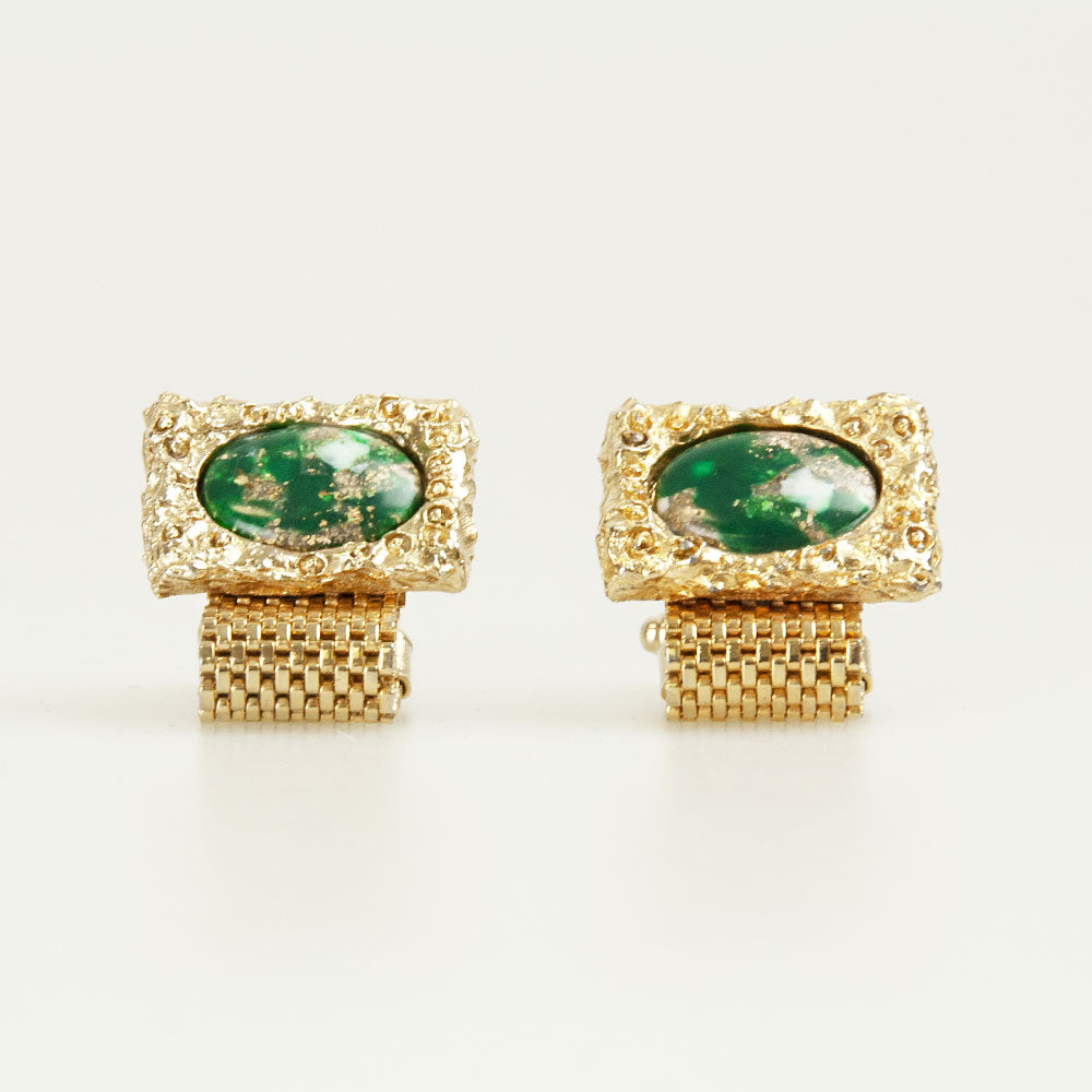 Green Rectangle pearl Vintage Cufflinks Front