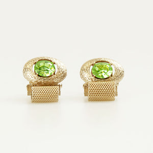 Oval Green Crystal Vintage Cufflinks Front